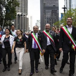 Members of the Joint Civic Committee of Italian Americans lead the Columbus Day Parade as it travels down North State Street from East Wacker Drive, Monday afternoon, Oct. 11, 2021.