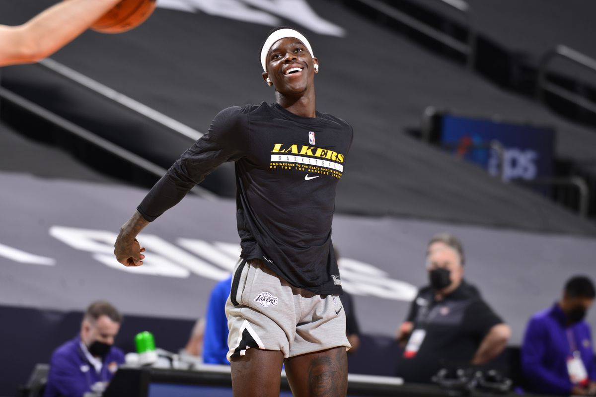 Dennis Schroder of the Los Angeles Lakers warms up prior to the game against the Phoenix Suns on December 16, 2020 at the Talking Stick Resort Arena in Phoenix, Arizona.
