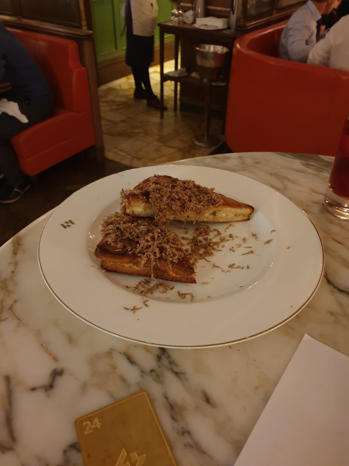 The famous truffled cheese toastie at 45 Jermyn Street at Fortnum and Mason on Piccadilly