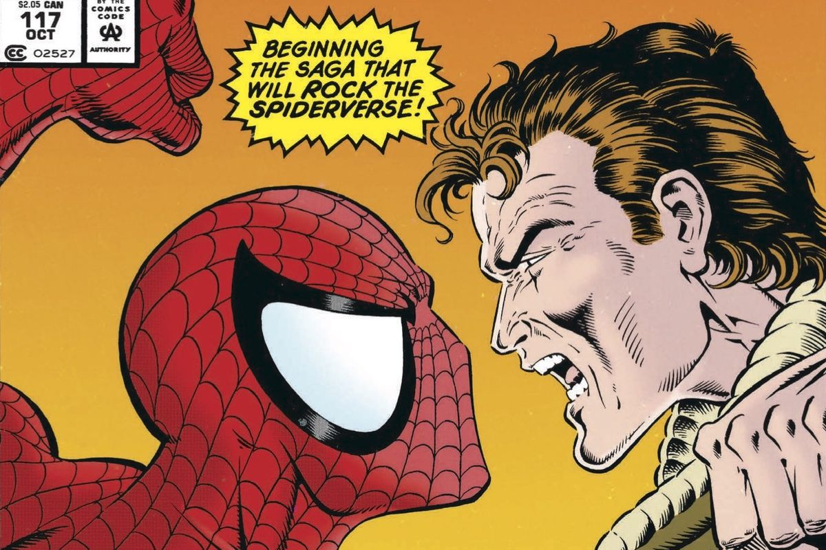 Spider-Man faces off against Peter Parker on the cover of Web of Spider-Man #117, Marvel Comics (1994).