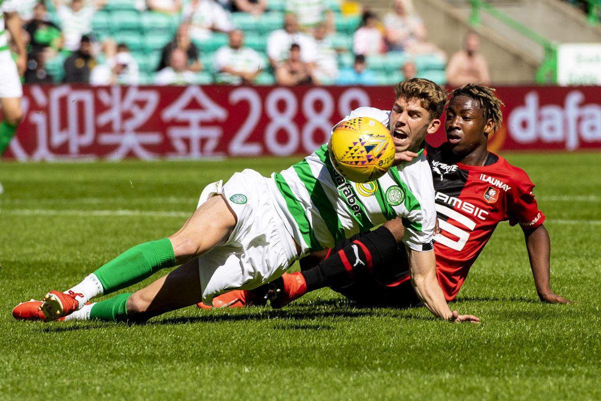 13/07/19 PRE SEASON FRIENDLY.CELTIC v STADE RENNAIS.CELTIC PARK - GLASGOW.Celtic's Ryan Christie is brought down by Brandon Soppy