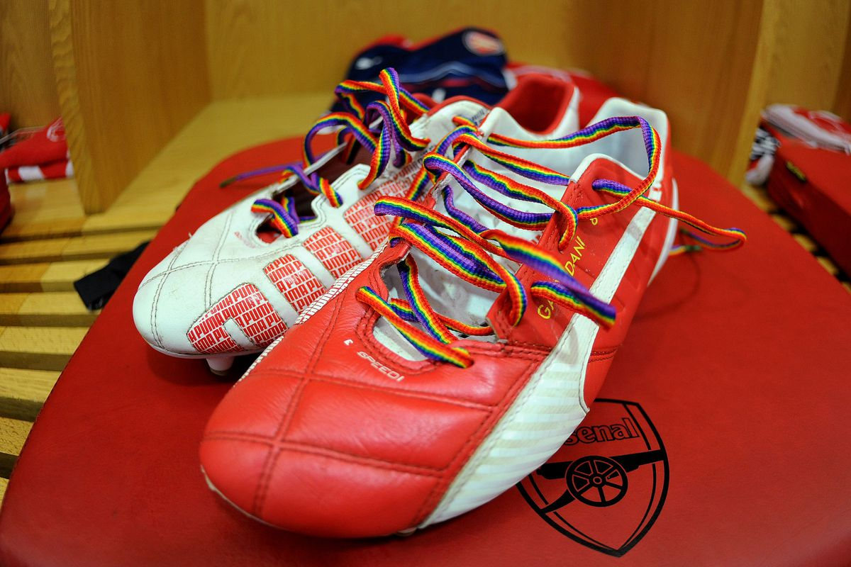 Arsenal captain Mikel Arteta wore rainbow laces in these shoes against Manchester City.