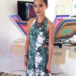 """Over at the <a href=""""http://www.popsugar.com/"""">Popsugar</a> x <a href=""""http://www.shopstyle.com"""">Shopstyle</a> brunch, Jamie Chung kept cool in a long Mara Hoffman dress, thanks to strategic cutouts."""