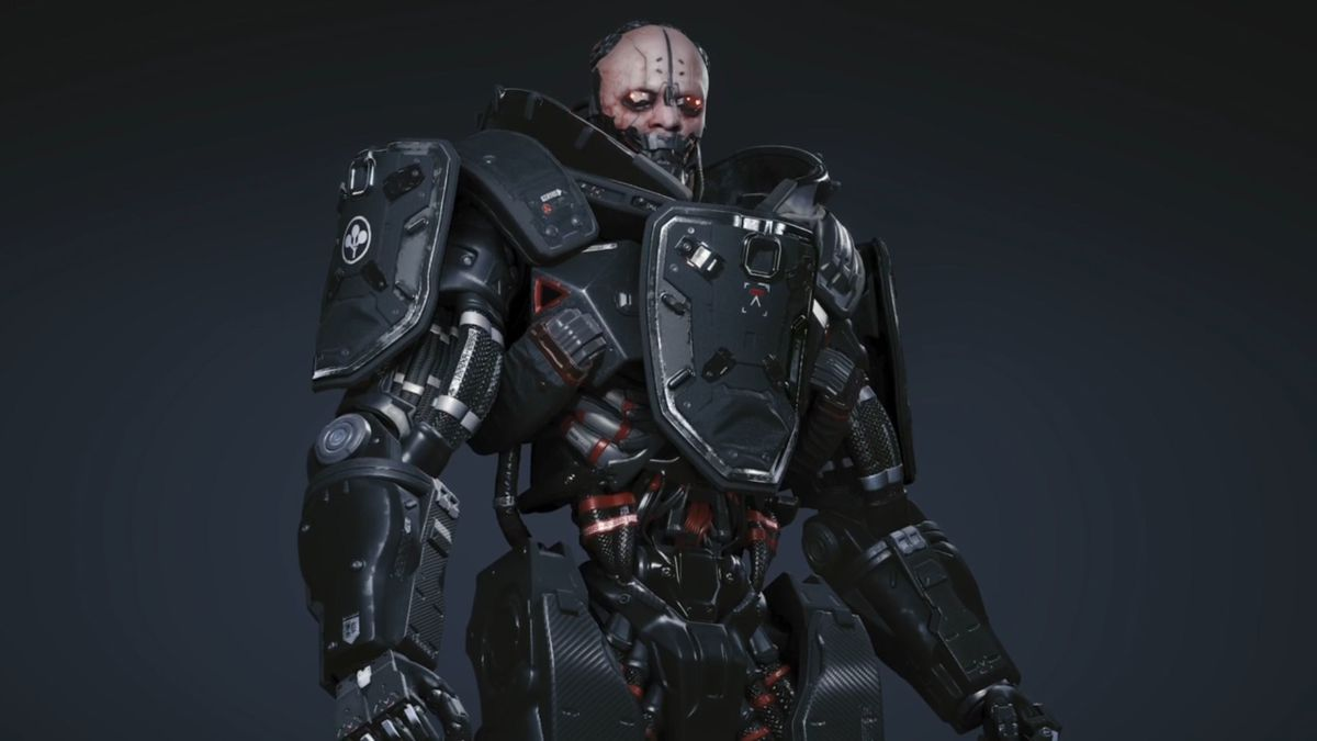 Adam Smasher, a robot body with the head of a man, in Cyberpunk 2077