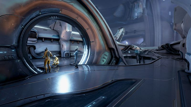 Warframe - a shot of the Dry Dock, with NPC workers