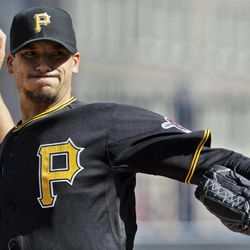 Pittsburgh Pirates pitcher Charlie Morton throws during the second game of a doubleheader baseball game against the Colorado Rockies in Pittsburgh, Wednesday, April 25, 2012.