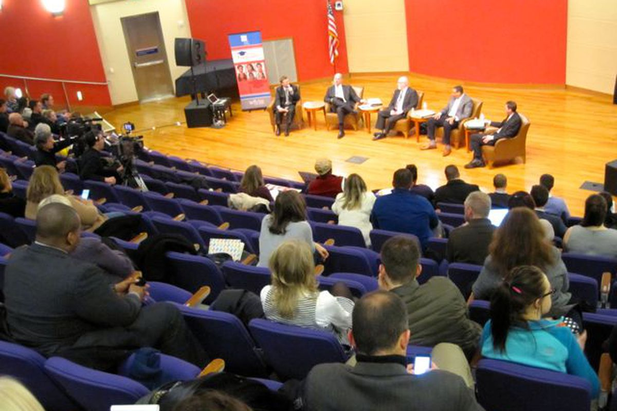 Indiana House Speaker Brian Bosma, House Ways and Means Committee Chairman Tim Brown, Indianapolis Public Schools Superintendent Lewis Ferebee and Northwest Allen County Schools Superintendent Chris Himsel talk school funding at a Chalkbeat-sponsored event Thursday.