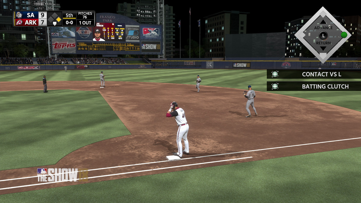 MLB The Show 18 - runner on first base in Road to the Show