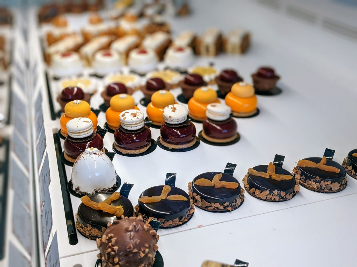 Artelice Pâtisserie's well-lit tray of French desserts and pastries, with lots of chocolate on Sawtelle