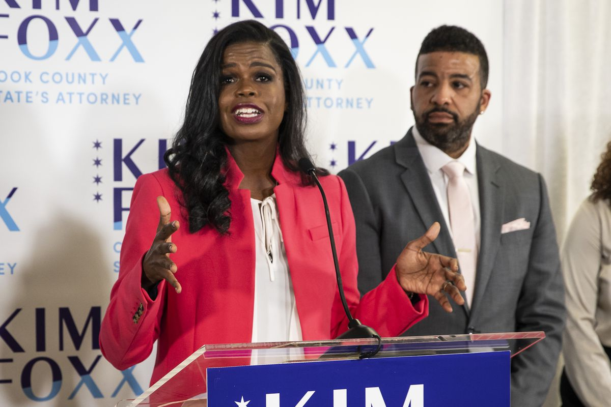 Cook County State's Attorney Kim Foxx speaks at her election night headquarters at the Kinzie Hotel on the Near North Side after defeatingRepublican candidate Pat O'Brien Tuesday night.