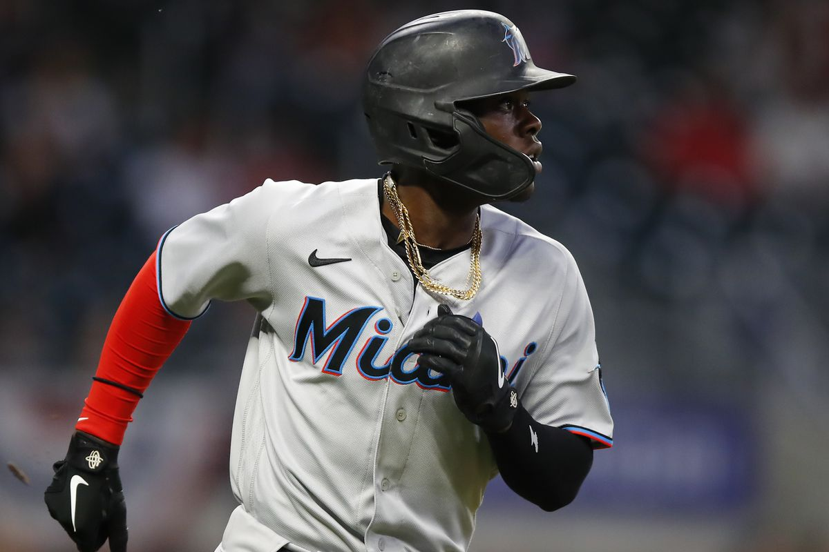 Jazz Chisholm Jr. #2 of the Miami Marlins runs the bases after hitting a three-run home run in the third inning against the Atlanta Braves at Truist Park