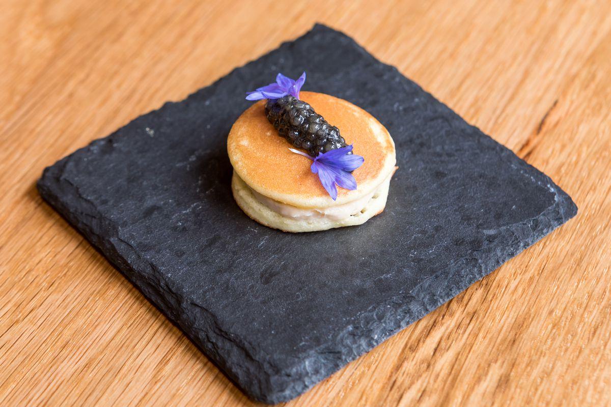 Banana dorayaki topped with caviar