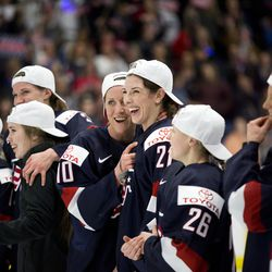 Team USA forward Meghan Duggan and Team USA forward Hilary Knight celebrates winning the gold medal game of Worlds 2017 in Plymouth, MI on April 07.