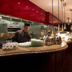 The open kitchen at Gordon Ramsay Steak.