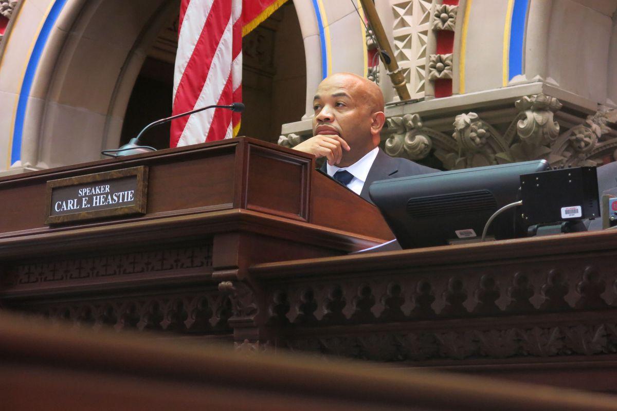 Speaker Carl Heastie on the Assembly floor.
