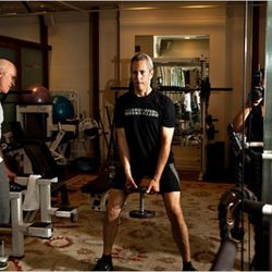 """Danny Meyer lifting weights. (Photo: <a href=""""http://www.nytimes.com/2011/08/07/magazine/danny-meyer-is-on-a-roll.html?_r=2&pagewanted=all"""" rel=""""nofollow"""">Gillian Laub/NYT</a>)<br />"""