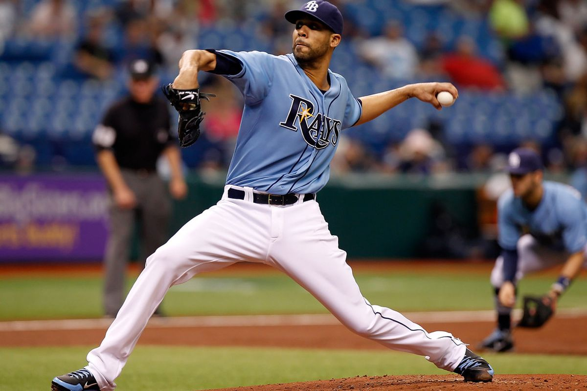ST PETERSBURG, FL - MAY 20:  Pitcher David Price #14 of the Tampa Bay Rays pitches against the Atlanta Braves during the inter-league game at Tropicana Field on May 20, 2012 in St. Petersburg, Florida.  (Photo by J. Meric/Getty Images)