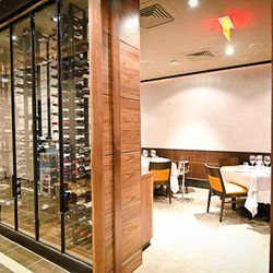 Private dining room and temperature-controlled wine case.
