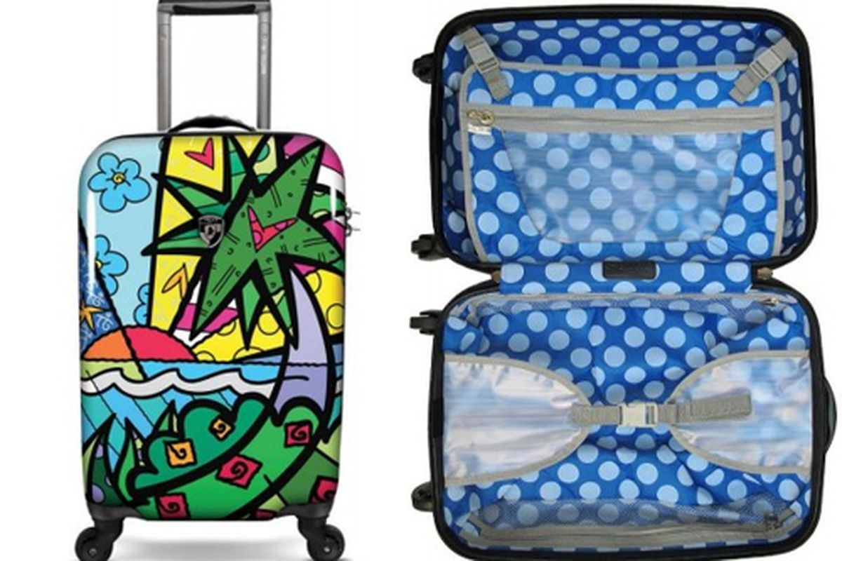 """<b>Heys</b> Britto 22"""" Spinner in Landscape/Flowers, <a href=""""http://www.innovationluggage.com/luggage/carry-ons/heys-britto-butterfly-22-spinner"""">$250</a> (from $500) at Innovation Luggage"""