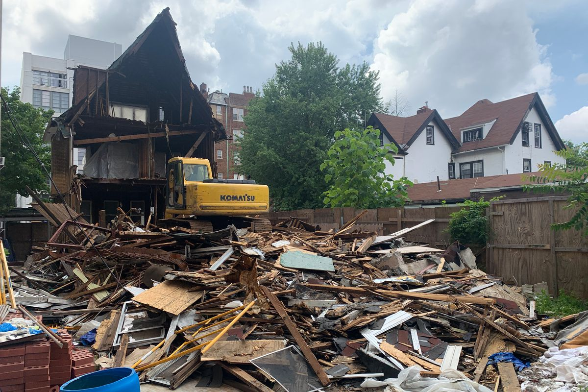A partially demolished house in Prospect Lefferts Gardens, July 10, 2021.