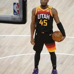 Utah Jazz guard Donovan Mitchell (45) closes his eyes before shooting free throws during Game 5 of their NBA playoff series against the LA Clippers in Salt Lake City on Wednesday, June 16, 2021. The Jazz lost 119-111.