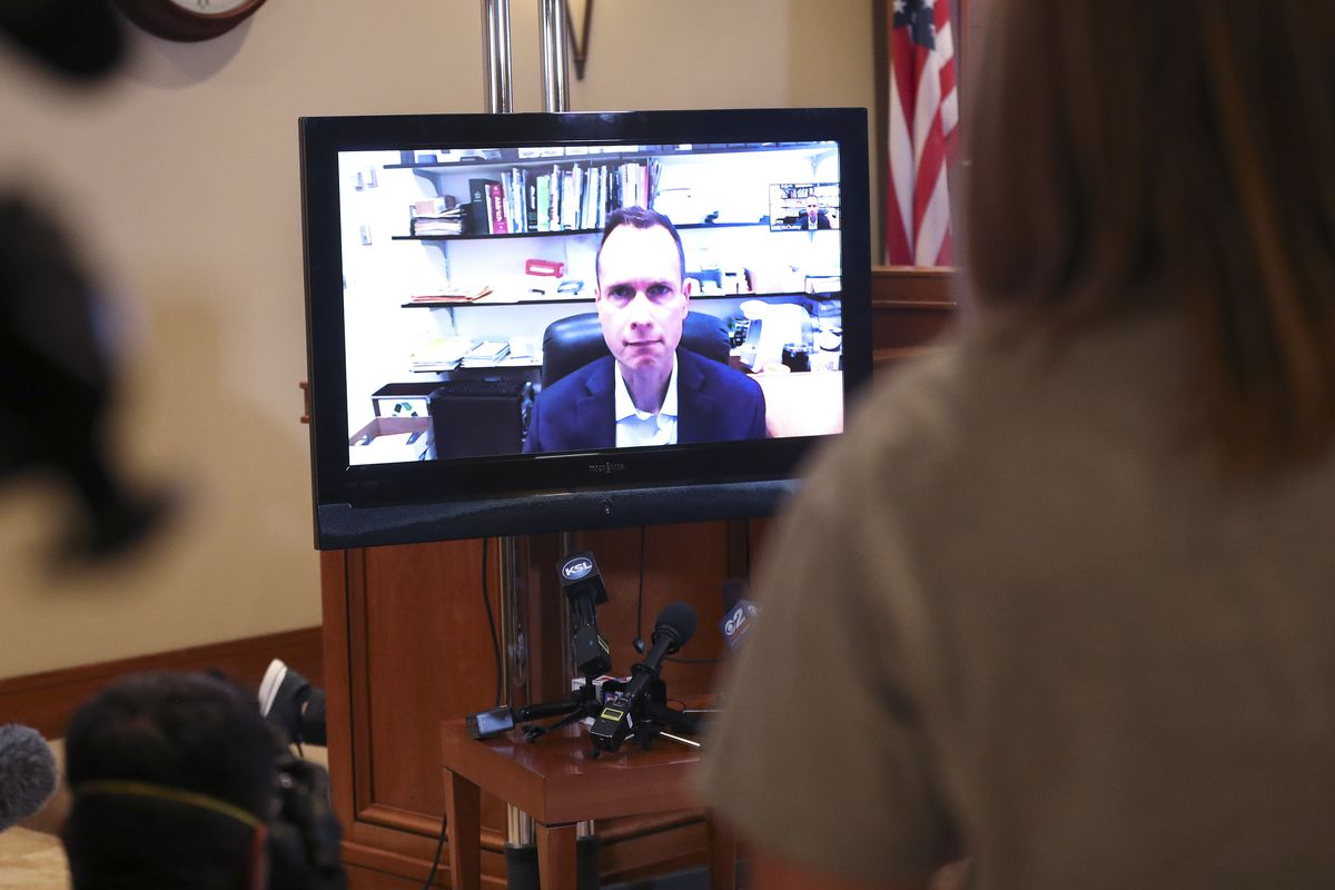 Matt McCluskey speaks via Zoom during a press conference regarding newly discovered evidence and recent developments in his daughter Lauren McCluskey's case in Murray on Monday, May 18, 2020.