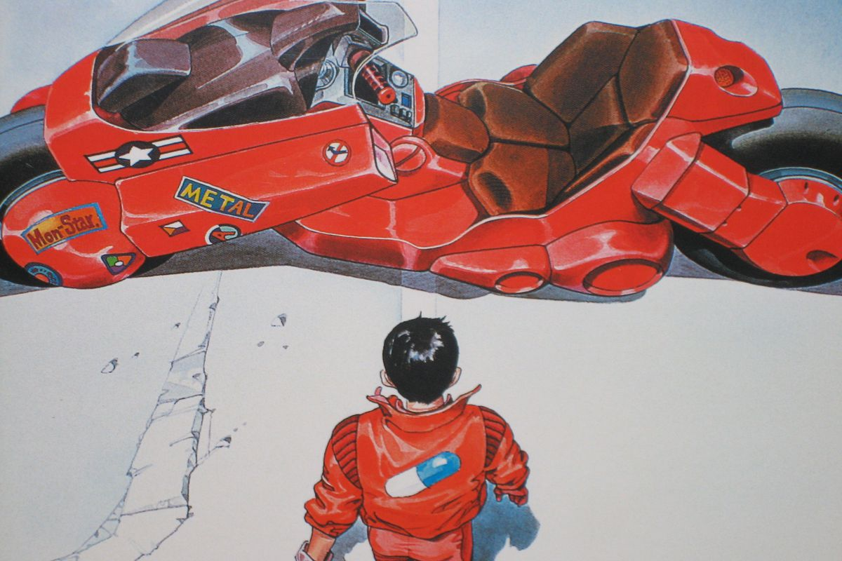 image from anime of a young man standing in front of a large red motorcycle