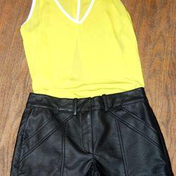 <b>French Connection</b> Black Perforated Shorts, $128; <b>BB Dakota</b> Acid and White Top, $64