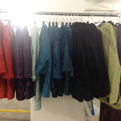 Assorted colored fur jackets