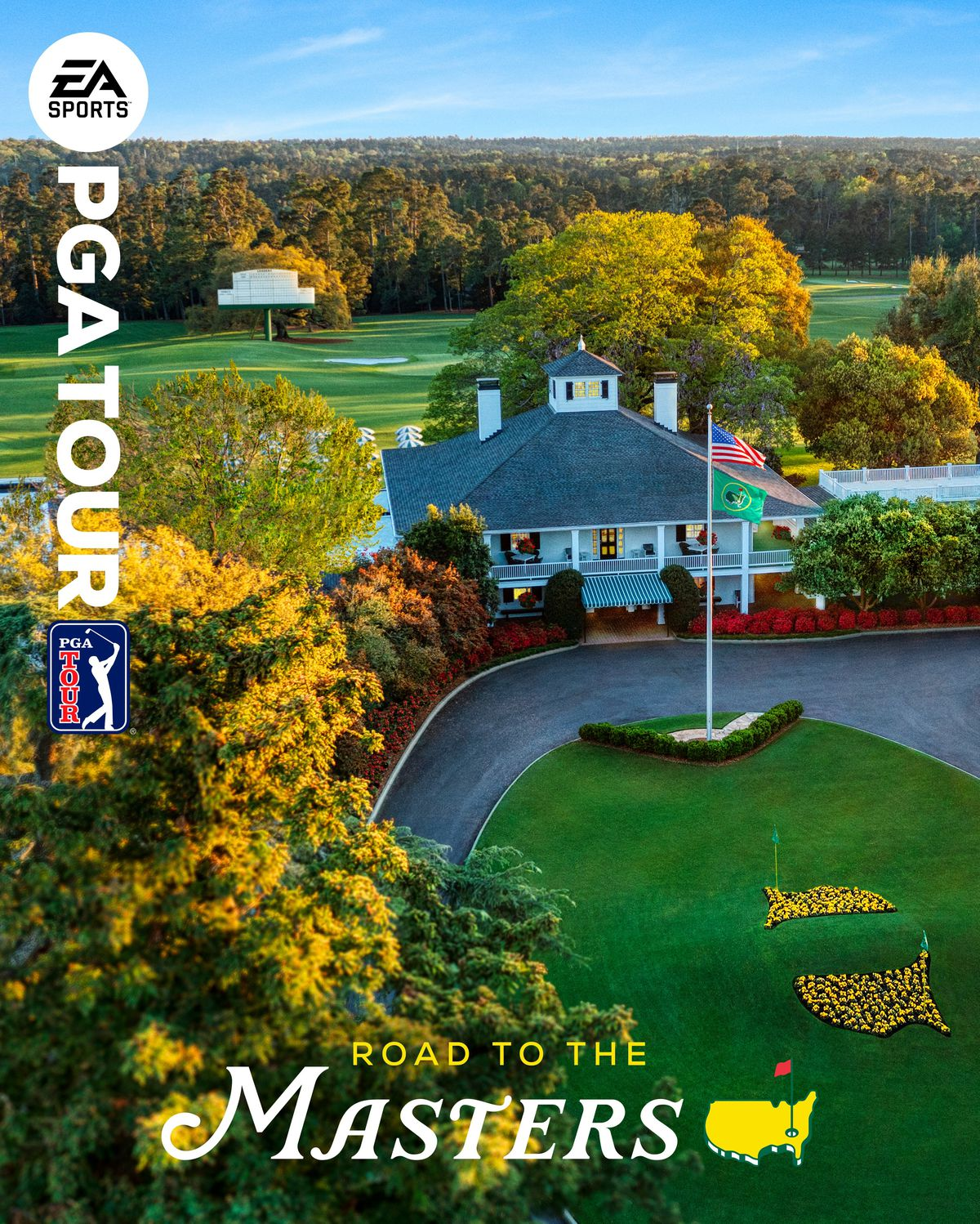 "the cover art for EA Sports PGA Tour, featuring an overhead photo of the clubhouse at Augusta National Golf Club and the words ""Road to the Masters"""