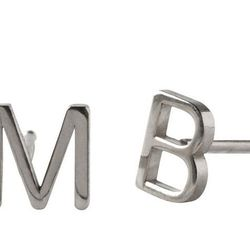 """For the understated jewelry lover: Maya Brenner single initial earring, <a href=""""http://www.markandgraham.com/products/maya-brenner-initial-earring-sterling-silver/?pkey=cmaya-brenner-jewelry&cm_src=productsearch"""">$65</a> at Mark & Graham"""