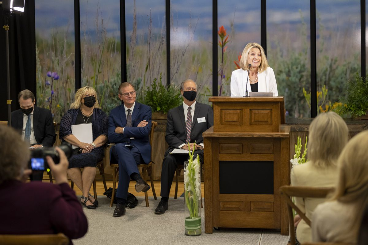 President Camille N. Johnson, president of the Primary general presidency of The Church of Jesus Christ of Latter-day Saints,speaks to members of the media prior to a tour of the Pocatello Idaho Temple in Pocatello, Idaho, on Monday, Sept. 13, 2021.