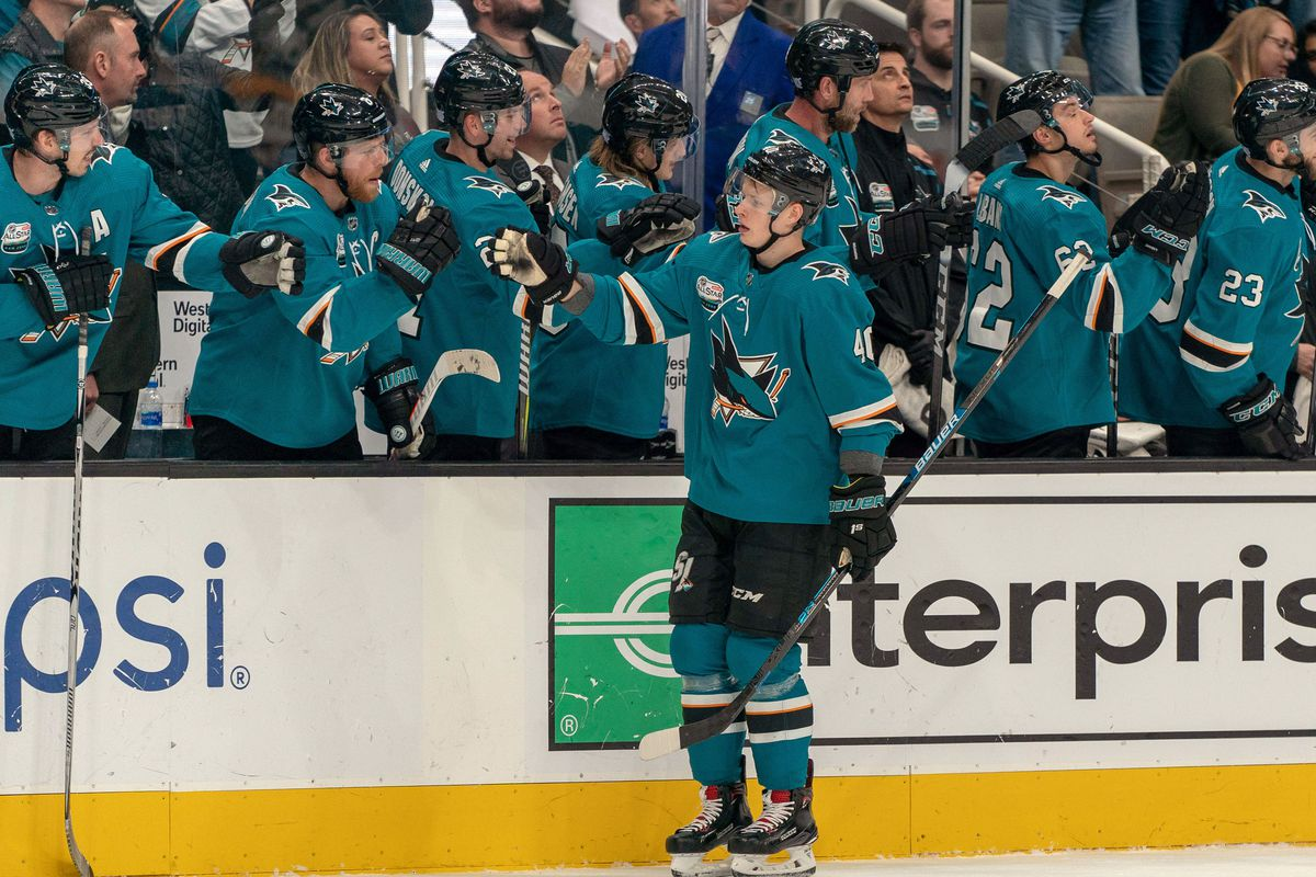 Nov 13, 2018; San Jose, CA, USA; San Jose Sharks center Antti Suomela (40) is congratulated by teammates after scoring during the first period against the Nashville Predators at SAP Center at San Jose.