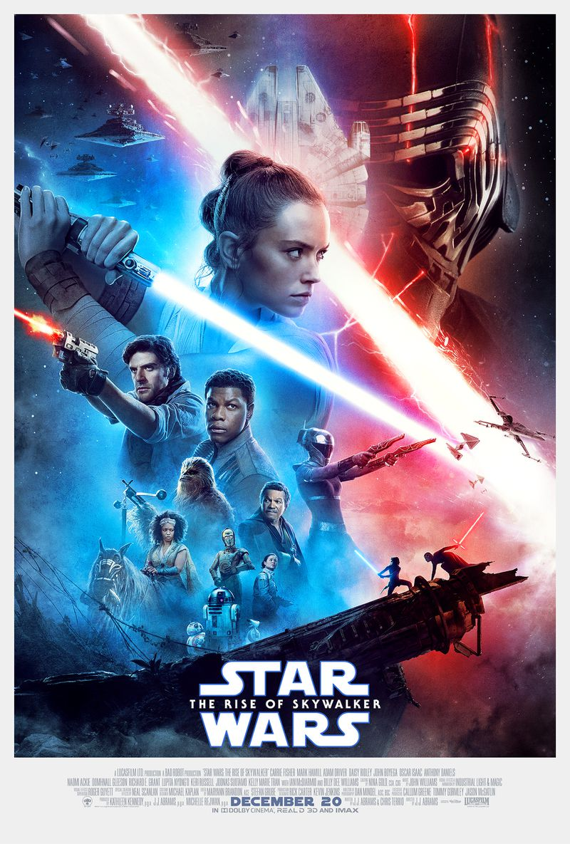 final poster for star wars the rise of skywalker with rey and kylo merging light sabers