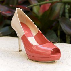 """Lori Blu """"Puff Corallo Burro"""" Colorblock Heels, $495"""