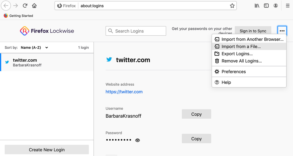 Firefox has no qualms about importing a CSV password file