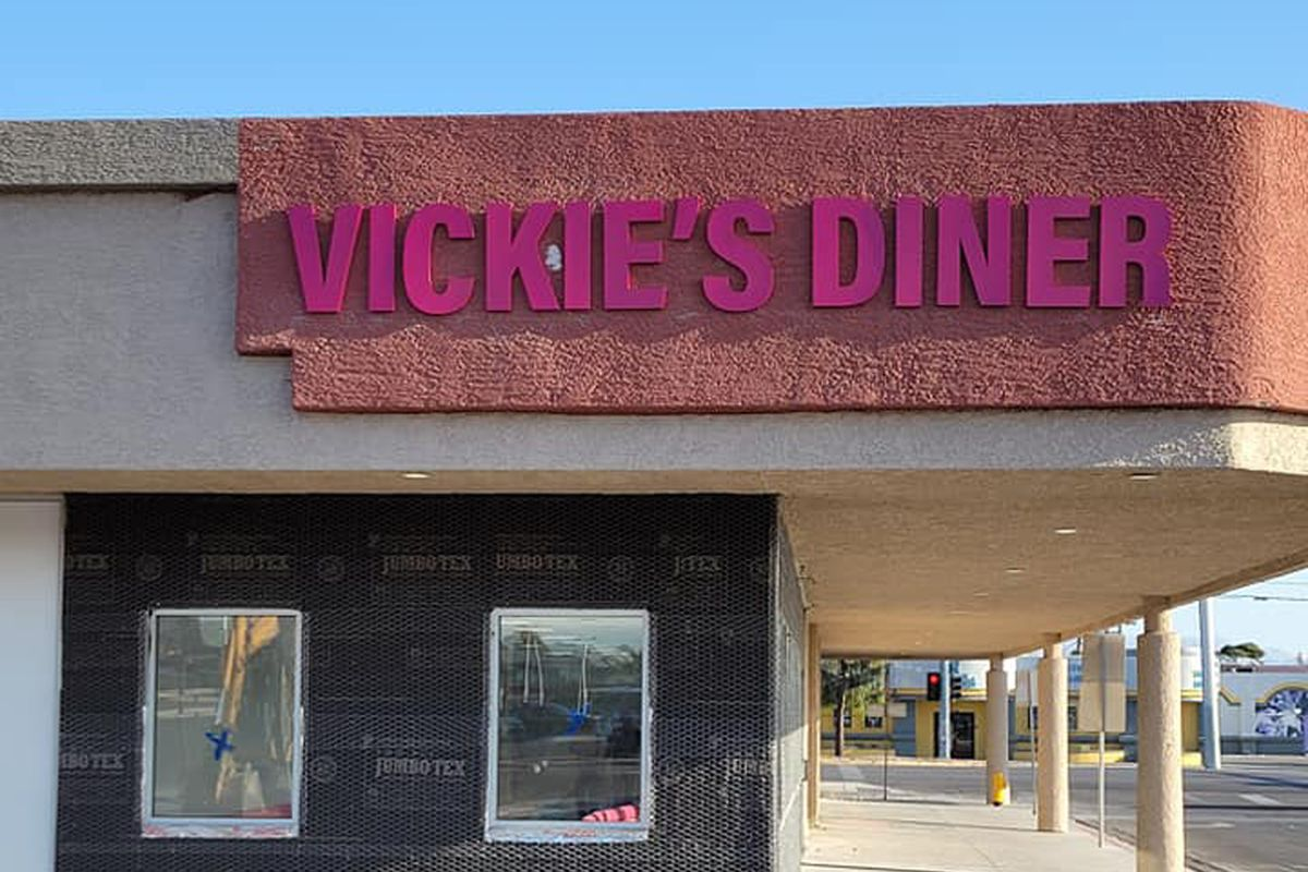 Exterior signage at Vickie's Diner, coming later this year to the Commercial Center.