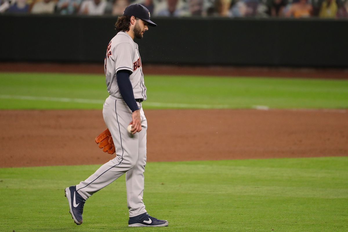 Lance McCullers Jr. #43 of the Houston Astros reacts after giving up a three run home run to Evan White #12 of the Seattle Mariners to give them a 4-0 lead in the seventh inning at T-Mobile Park on September 21, 2020 in Seattle, Washington.