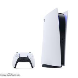 The PlayStation 5 Digital Edition — note the lack of a disc drive — in its vertical stand.
