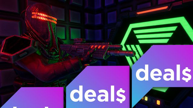 A screenshot from the System Shock demo overlaid with the Polygon Deals logo