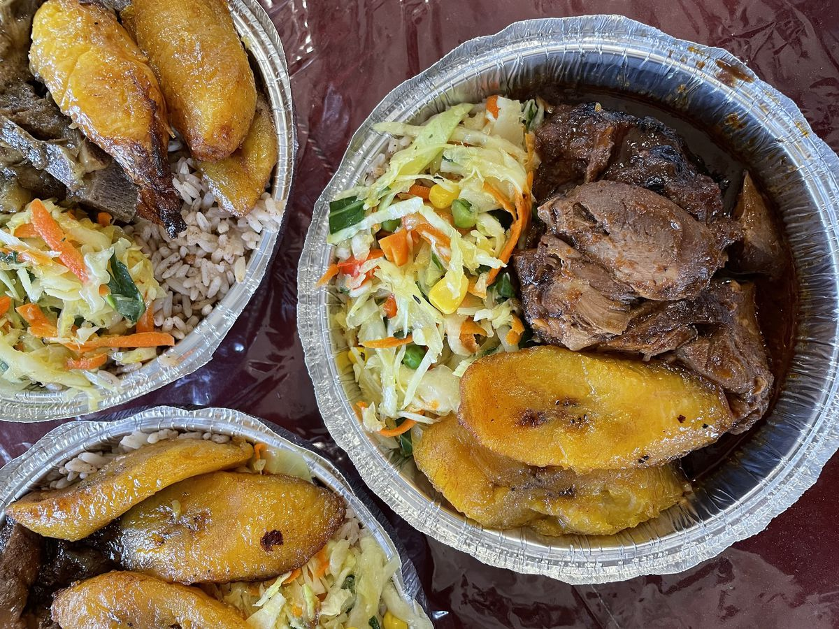 Containers of Jamaican fare