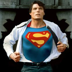 """Christopher Reeve strikes an iconic pose as """"Superman"""" for the 1978 classic, now on Blu-ray in a three-hour version."""