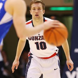 Gonzaga Bulldogs guard Jesse Wade (10) defends as BYU and Gonzaga play in an NCAA basketball game in the Marriott Center in Provo on Saturday, Feb. 24, 2018. Gonzaga won 79-65.