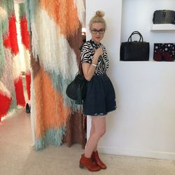 <b>Where:</b> TenOverSix <br><b>What:</b> Bethany is wearing our Rodarte silk zebra tee on sale for $417 with Rachel Comey Rogue shorts for $230. The boots are Samantha Pleet x Wolverine $275 and the bag is Wendy Nichol's handmade in NYC, Canteen bag in