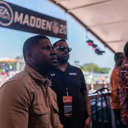 Devin Hester played fans in Madden at the EA Sports attraction in Grant Park.