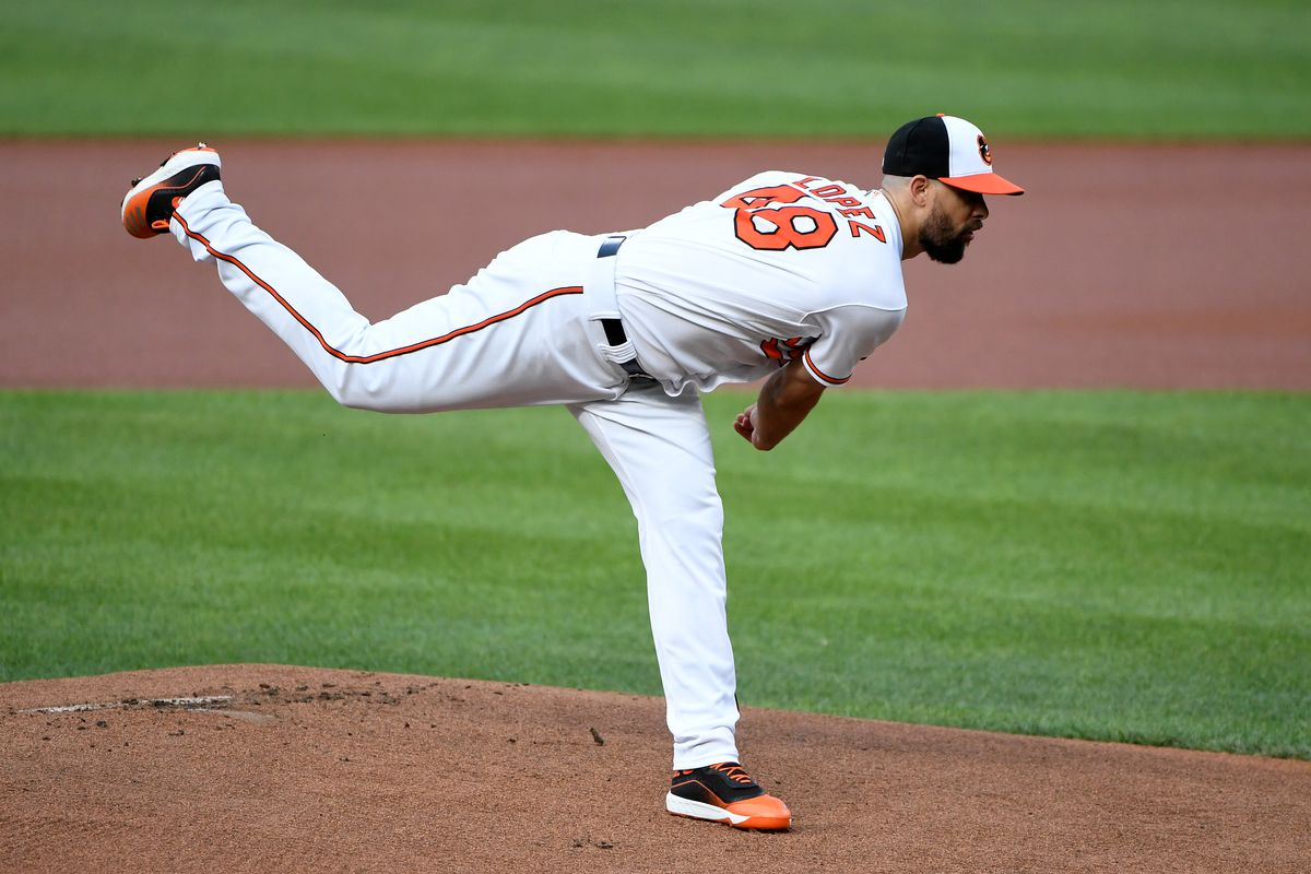 Jorge Lopez #48 of the Baltimore Orioles pitches against the Miami Marlins at Oriole Park at Camden Yards on July 28, 2021 in Baltimore, Maryland.