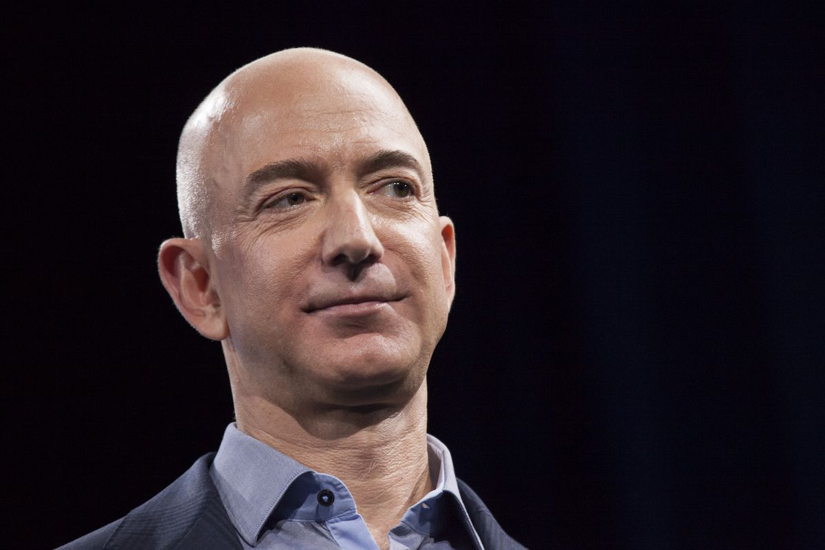 A close-up of Amazon CEO Jeff Bezos's face.