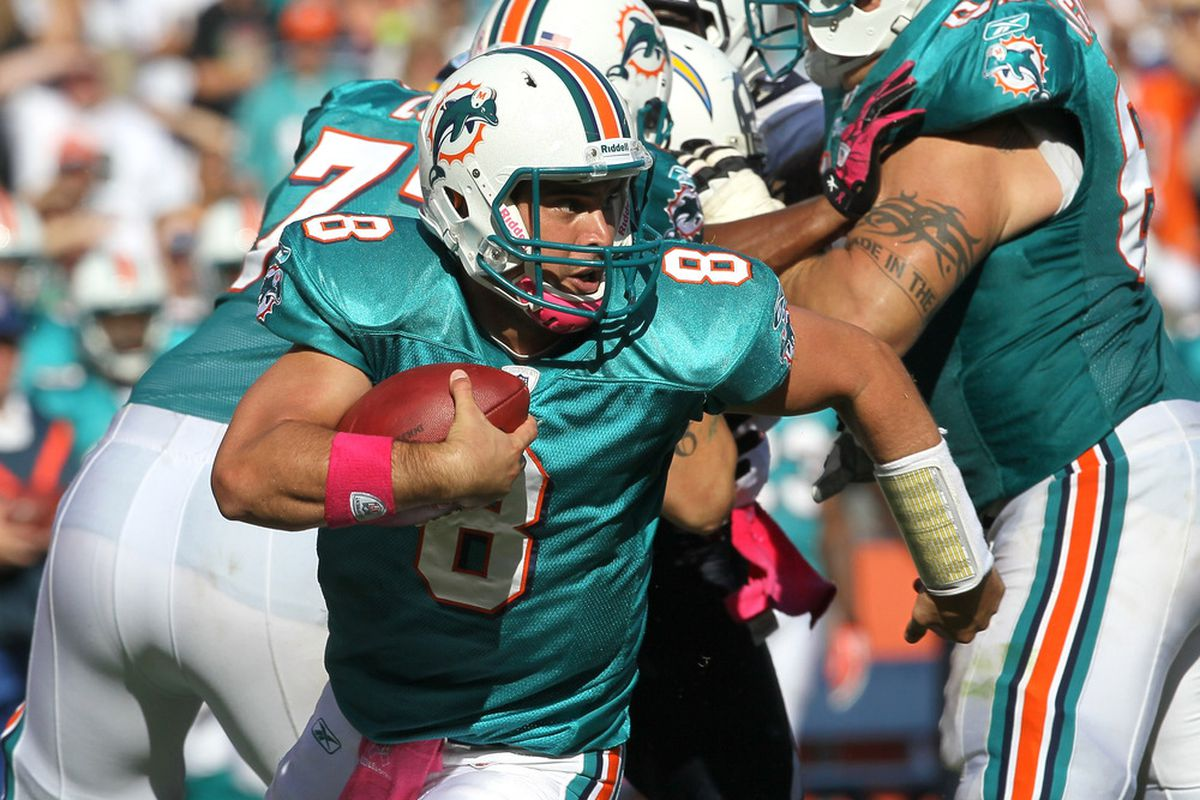 Miami Dolphins' Quarterback Matt Moore better get used to running for his life, because with this team's offensive line, he's going to be doing it a lot.