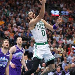 Boston Celtics forward Jayson Tatum (0) goes up for two of his team-high 33 points as the Utah Jazz and the Boston Celtics play an NBA basketball game at Vivint Smart Home Arena in Salt Lake City on Wednesday, Feb. 26, 2020. Boston won 114-103.