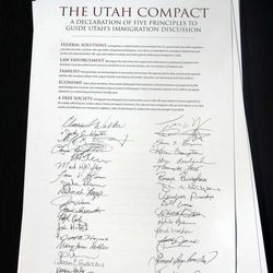 A document known as the Utah Compact during a press conference where community leaders gathered in support of immigration reform at the State Capitol in Salt Lake City Thursday, November 11, 2010.